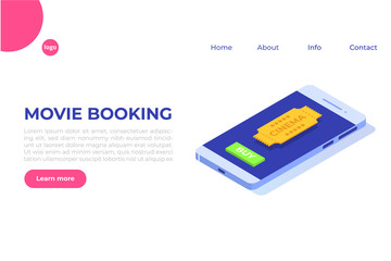 Online cinema tickets booking isometric concept. Mobile app. Vector illustration