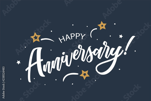 happy anniversary lettering card banner beautiful greeting scratched calligraphy white text word stars
