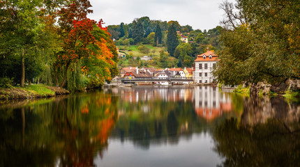 Autumn reflections of the river in Cesky Krumlov