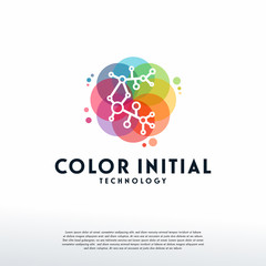 Colorful C initial Technology logo vector, C Digital logo designs template, design concept, logo, logotype element for template