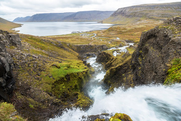 Waterfall landscape view at Dynjandi in iceland