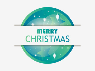 Merry Christmas. Christmas ball with green gradient. Layer with shadow. Greeting card design template. Vector illustration