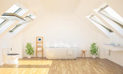 minimal spacious bathroom on attic