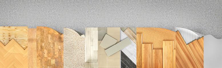Obraz Different floor types coating. Set of pieces of different floor coating. 3d illustration - fototapety do salonu