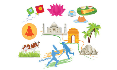 This illustration shows Indian food , beautiful building ,its sports and animal
