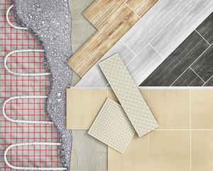 Tile floor with floor heating. 3d illustration