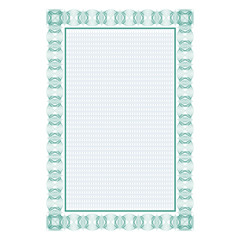 Template. Frame, background. Guilloche. It can be used as a protective layer for the certificates, diplomas, banknotes.