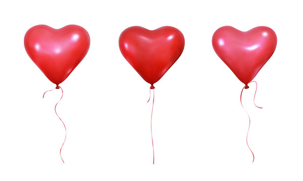 Valentine Day heart balloons. Set of realistic helium balloons of heart shape and ribbons. Wedding and Valentine's balloons.