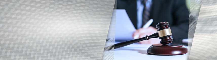 Lawyer reading legal document. panoramic banner