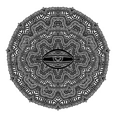 Mandala in linear African or ancient mexican mythology style.