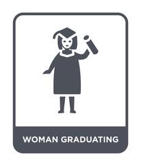woman graduating icon vector