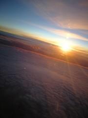 Canvas Prints Magenta Sonnenaufgang über den Wolken