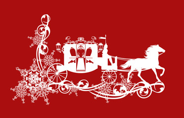 magic fairy tale carriage with horse running over snowflakes decor - winter season white vector silhouette over red