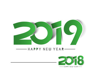 Happy New Year 2019 & 2018 Text Peel off Paper Design  Patter, Vector illustration.