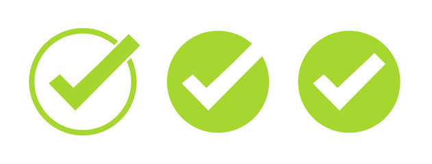 Set of green tick icons. Vector symbols set, checkmarks collection isolated on white background. Checked icon or correct choice sign. Check mark or checkbox pictogram.