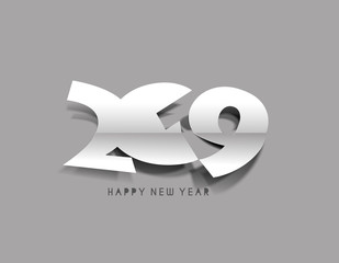 Happy New Year 2019 Text Peel off Paper Design  Patter, Vector illustration.