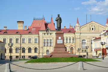 RYBINSK, RUSSIA. Red Square with a monument to V.I. Lenin against the background of the museum building