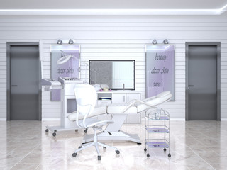 Room with equipment in the clinic of dermatology and cosmetology. 3d illustration