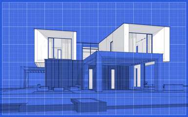 3d rendering sketch of modern cozy house in garden with garage for sale or rent. Graphics black line sketch with white spot on blueprint background