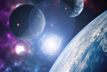creative planets float on open space near the earth orbit ib galaxy. Elements of this image furnished by NASA f