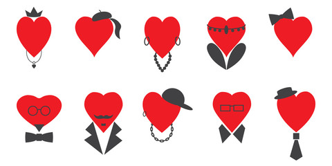 A set of hearts of men and women