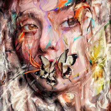 Female portrait beauty face with Butterflies