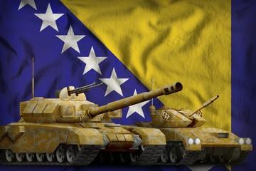 Bosnia and Herzegovina tank forces concept on the national flag background. 3d Illustration