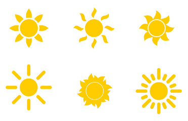 Set of yellow icons of the sun, isolated on white background.