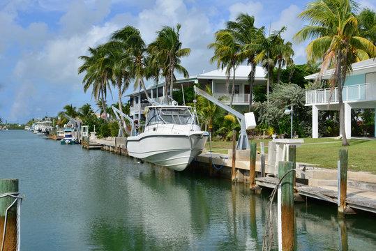 Home mooring at Marathon at the Florida Keys in Florida.