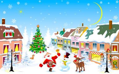 City, Santa, deer, snowman, Christmas night. Santa, deer and snowman happily greet Christmas