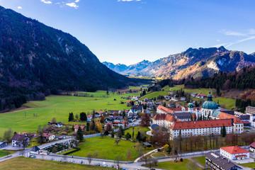 Aerial view, Benedictine abbey Ettal monastery, Ettal, Oberammergau, Bavaria, Germany Wall mural