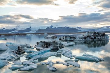 Beautiful glacier lagoon Jokulsarlon evening, Iceland