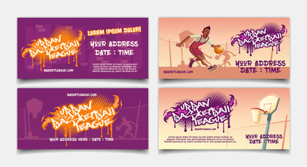Urban basketball league competition cartoon vector horizontal flyer or banner template set with african-american street basketball player dribbling on outdoor court illustration. Amateur sports cup ad