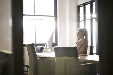 Young female business professional in an office
