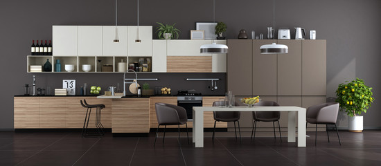 Modern brown and white kitchen with dining table Wall mural