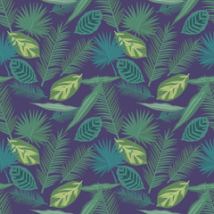 Green exotic tropical palm leaf plant seamless graphic illustration pattern on dark blue background