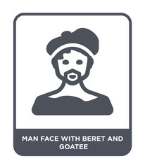 man face with beret and goatee icon vector