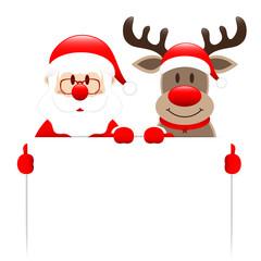 Santa & Rudolph Holding Label