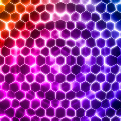 Abstract wave form glow light color hexagonal background. Grunge Polygonal Hex geometry surface . Futuristic colorful technology texture concept. 3d Rendering.