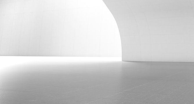 Empty abstract white space with curve wall. Modern blank showroom with floor. Future concept background. 3d rendering.