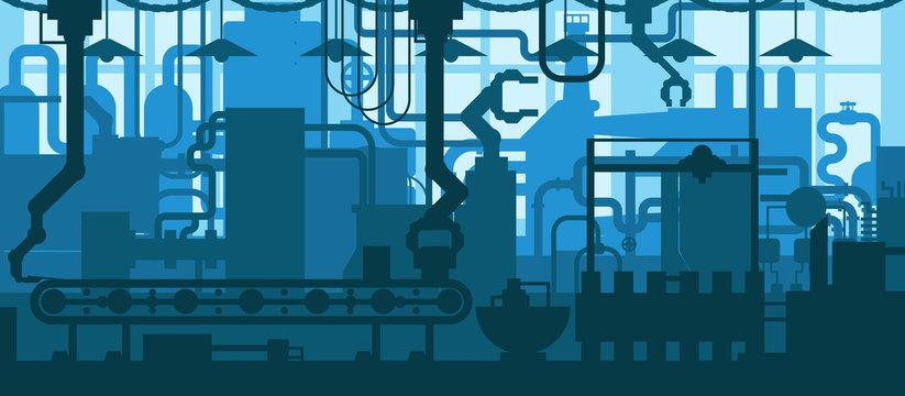 Factory plant conveyor line production development industrial interior flat design background concept illustration