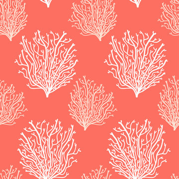 Abstract seamless background in living coral 2019 colors