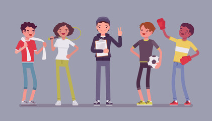 Young athletes, professional sporty people and coach