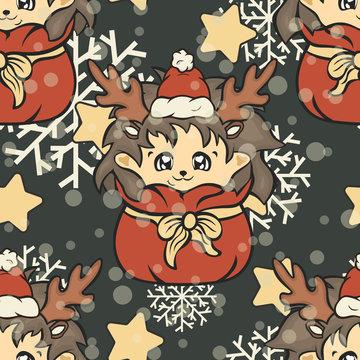 Hedgehog in Santa's bag seamless pattern for Christmas. Cute hedgehog vector repeated pattern. Hedgehog in red Santa's hat or antler cartoon character. Merry Christmas and Happy New Year design