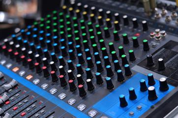 Sound mixer control panel in wedding ceremony