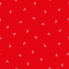 Sweet ditzy red and white hand drawn doodle hearts as seamless vector pattern. Great for Valentine. friendship gifts or decor for girls, giftwrap, scrapbooking and commercial projects.