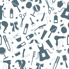 Seamless pattern on the theme of the Barber shop, the tools and accessories of the hairdresser, a simple contour icons, grey silhouettes icons on a white background