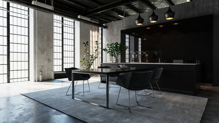 Modern, luxurious, industrial style dining area