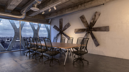 Contemporary, corporate meeting room and city view