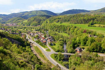 Aussicht von Bohlenwand nach Obernitz, Gleitsch, Thüringen